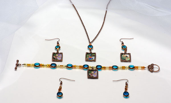 blue and copper with photos